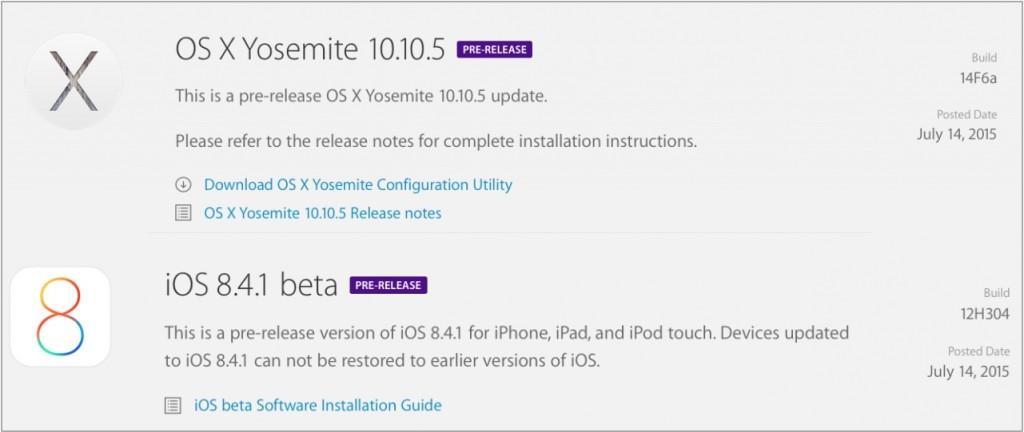 iOS 8.4.1 OS X 10.10.5