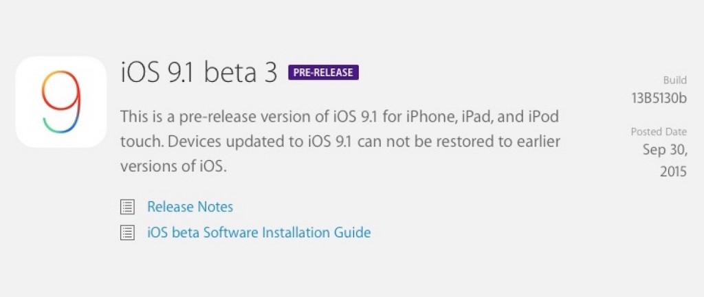 iOS 9.1 beta 3