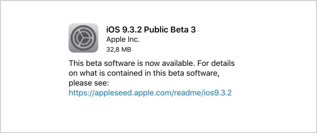 iOS 9.3.2 beta 3