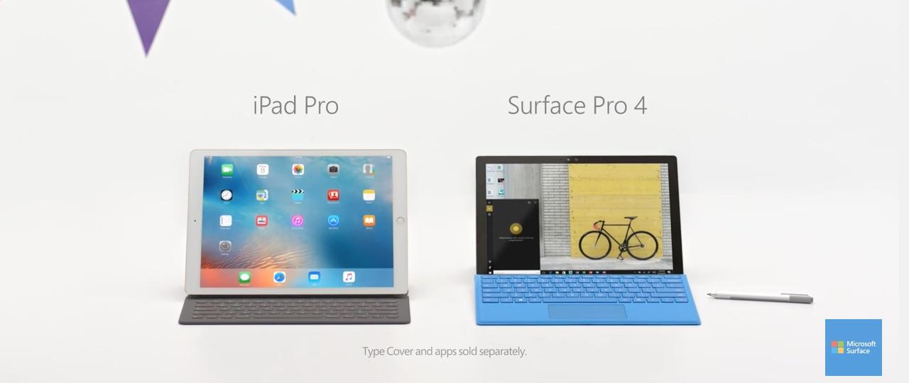 reklama Surface Pro 4 vs iPad Pro