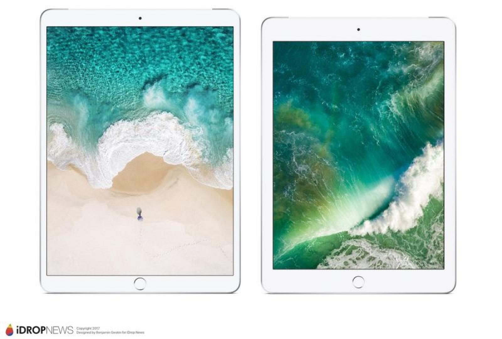 Nadchodzący iPad Pro o przekątnej 10,5 cala (z lewej strony) w porównaniu z obecnym iPadem o przekątnej 9,7 cala (po prawej)