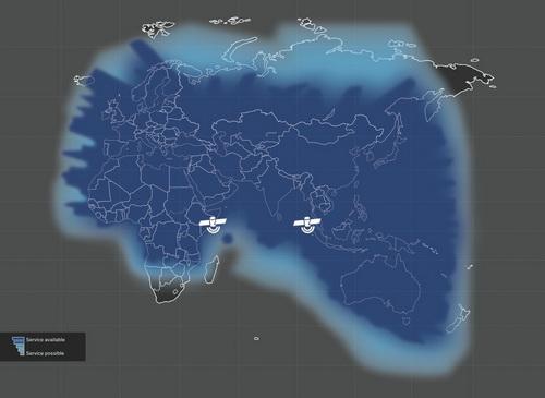 Mapa zasięgu sieci Thuraya