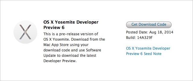 OS X Yosemite Developer Preview 6
