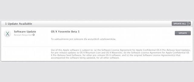 OS X Yosemite public bata 5