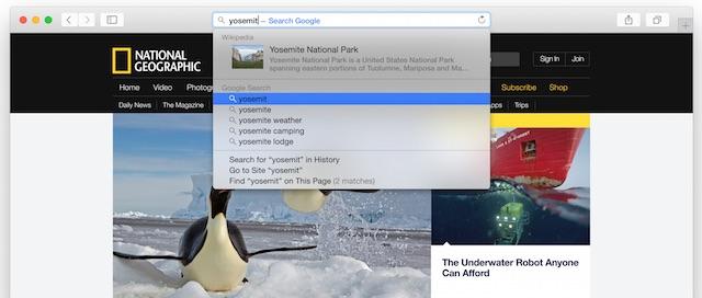 Safari OS X Yosemite