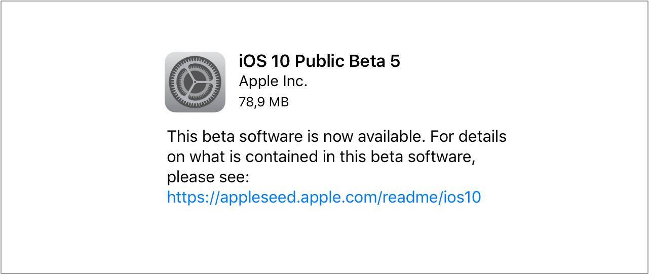 iOS 10 beta 5