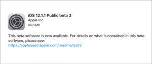 Apple udostępnia publicznym testerom trzecią wersję beta iOS 12.1.1